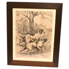 """Vintage Reinhold H. Palenske """"Steady Boys"""" Etching of Sporting Dogs c.1940's"""