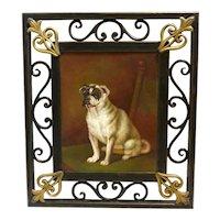 Vintage Original Oil-on-Board Portrait of Sitting Pug Dog Framed