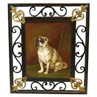 Vintage Original Oil-on-Board Portrait of Sitting Pug Dog Framed