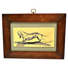 Pen & Ink Dachshund Dog with Food Signed & Framed c.1970