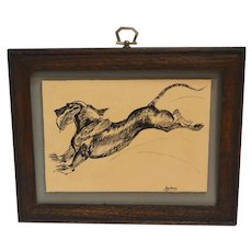 Pen & Ink Leaping Dachshund Dog Signed & Framed c.1970