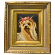 Original Yorkshire Terrier Dog Portrait Painting Artist Signed
