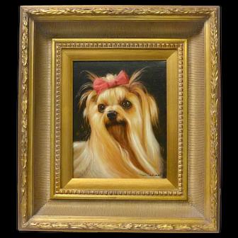 Original Yorkshire Terrier Dog Portrait Painting Artist Signed