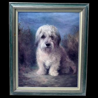 Vintage Dandie Dinmont Dog Framed Painting Print by Lilan Cheviot (British 1894-1940)