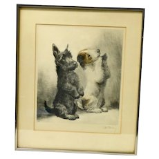"Vintage ""Sitting Pretty"" Two Dogs Begging Signed Kurt Meyer-Eberhardt"