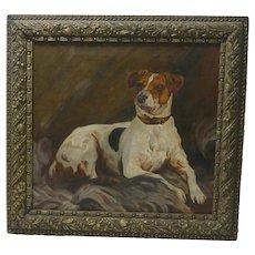 Antique 19th Century Jack Russell Terrier Oil Portrait