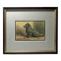 """Vintage Herbert Dicksee """"Forgotten"""" Scottish Terrier Print"""