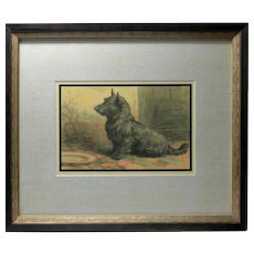 "Vintage Herbert Dicksee ""Forgotten"" Scottish Terrier Print"
