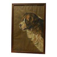 Antique Original Saint Bernard Dog Portrait Artist Signed c. 1927
