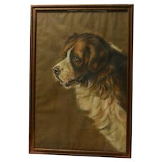 Antique Original Saint Bernard Dog Portrait Artist Signed c. 1927