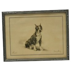 Vintage Signed Framed Lithograph Boston Terrier Dog c. 1930's