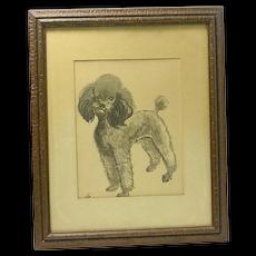 """Poodle """"Belle"""" Portrait Da Wei Kwo Signed Lithograph c.1950's"""