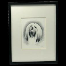 Lhasa Apso Dog Pencil Portrait Artist-Signed