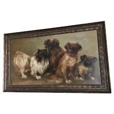 Original Oil -on- Canvas Portrait of Four Pekingese Dogs Artist-Signed
