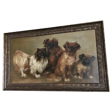 Original Oil -on- Canvas Portrait of Four Pekingese Dogs Artist-Signed