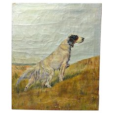 Original Oil On Burlap Painting of a Setter Dog