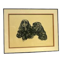 Black English Cocker Spaniel Pair Portrait
