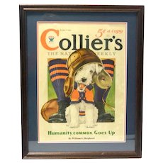 Original Collier's Magazine Cover with Fox Terrier Dog c.1933