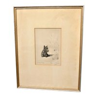 "Marguerite Kirmse  Etching ""Fuzzy Wuzzy"" Scottish Terrier"