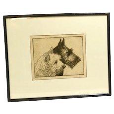 Scottie and Westie Portrait Etching Print