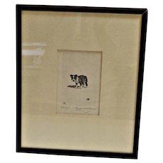 "Marguerite Kirmse  Etching ""Stung!"" Boston Terrier c.1931"