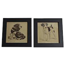 Diana Thorne Dog Prints Framed Pair