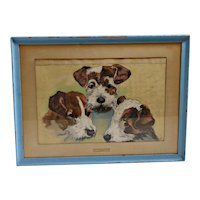 Original Painting Three Fox Terrier Dogs c.1940