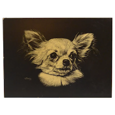 Vintage Chihuahua Dog Etching Artist Signed c.1977