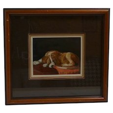 Original Folk Art Saint Bernard Painting - Artist Signed