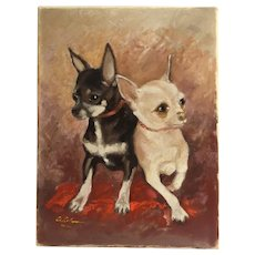 Vintage Original Painting Chihuahua Dogs