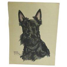 Scottish Terrier Dog Lithograph Portrait Gladys Emerson Cook c. 1948