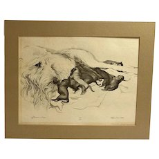 Limited Edition Print Wolfhound Dog with Litter of Puppies - Artist Signed c.1981