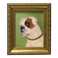 Boxer Portrait Original Oil on Canvas Framed