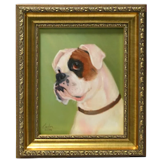 Boxer Portrait Original Oil on Canvas Framed