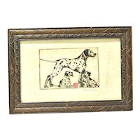 Original Clara Tice Dalmatian Dogs Pen & Ink Drawing - Signed c.1920's