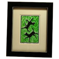 Original Relief Print of Black Labrador Dogs Artist Signed c.1970's