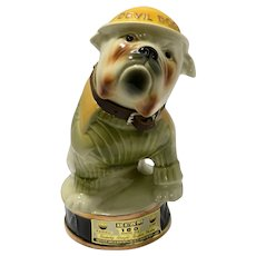 Vintage Devil Dogs Jim Beam Bulldog Whiskey Decanter 1979