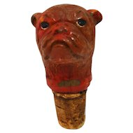 Vintage Carved Wooden Bulldog Head Cork Bottle Stopper