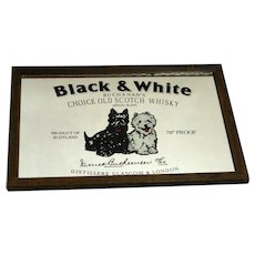 Buchanan's Black & White Scotch Whiskey Vintage Framed Advertising Mirror