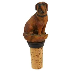 Vintage German Wood Carved Folk Art St. Bernard Dog Bottle Stopper