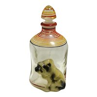 Vintage Bulldog Pinch Glass Decanter