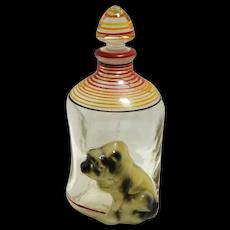 Vintage Bulldog Pinch Glass Decanter