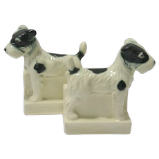 Porcelain Fox Terrier Dog Bookends Germany c.1998