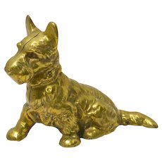 Vintage Solid Brass Scottish Terrier Dog Still Bank