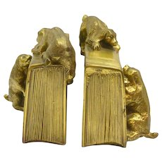 Vintage Brass PM Craftsman Cocker Spaniel Dogs Bookends c. 1930 Rare