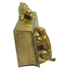 Vintage Brass PM Craftsman Cocker Spaniel Dogs Bookends c. 1930