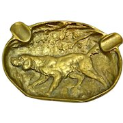 Vintage Hunting Dog Brass/Bronze Ashtray