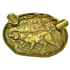 Vintage Hunting Dog Brass/Bronze Ashtray
