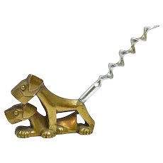 Art Deco Brass Double Scottie Dog Corkscrew c. 1930's