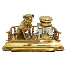 Antique Brass and Crystal Inkwell with Figural Pug c.1890